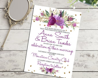 Printable wedding invitation with watercolor flowers, gold glitter and purple. Digital stationery. Printable digital wedding invite
