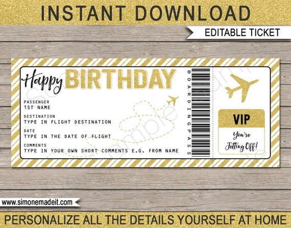 Birthday boarding pass gift surprise trip getaway holiday for Flight ticket template gift