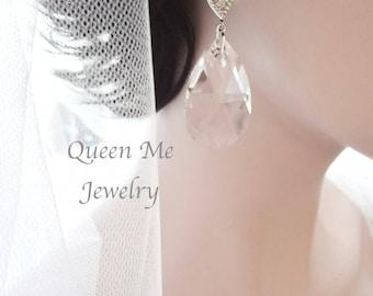 Large crystal earrings, 38mm Swarovski crystal earrings, Large teardrop crystals earrings, Crystal wedding earrings, Chandelier earrings~