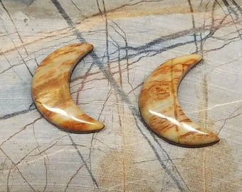 Small Brown and Tan Banded Picasso Marble Crescent Moon Cabochon Pair/ backed/ Iron Mountain, UT