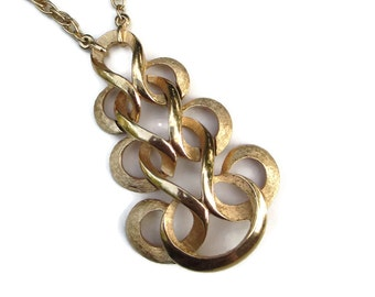Mid Century  Crown Trifari  Brushed Gold Tone Large Abstract Moderne Swirl Pendant  Necklace with Original Metal Tag