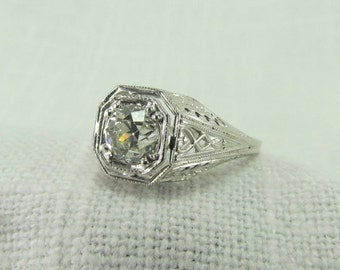 Circa 1930 18KT White Gold Ring with 0.78CT Old European Cut Diamond