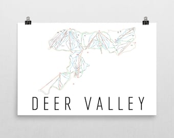 Deer Valley Ski Map Art, Deer Valley Utah, Ski Utah, Deer Valley Trail Map, Utah Art, Utah Map, Utah Print, Utah Poster, Salt Lake