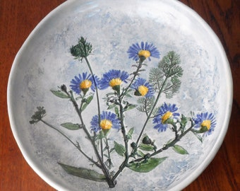 Salt Marsh Pottery Dartmouth MA Blue Floral Plate Mid Century