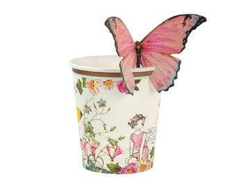 Truly fairy paper cups with butterfly detail x 12