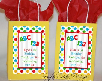 Sale 1st Birthday ABC 123 Favor Tag DIGITAL FILE 4x6 Jpeg Digital File Personalized