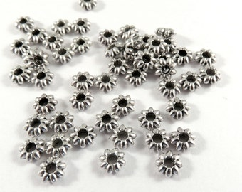 100 Silver Spacers Flower Beads Antique Tibetan Style 5.5x2mm 1.8mm hole - 100 pc - M7068-AS100