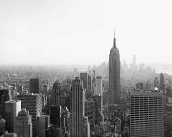 New York Skyline, Black and White Photography, New York Print, Empire State Building, Skyscrapers, New York Wall Art, NYC, Office Decor