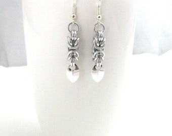 Silver Byzantine Chainmaille Earrings - Ready to Ship