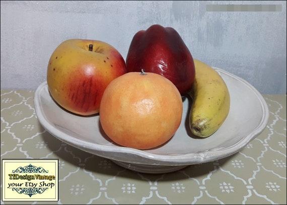 Frutero cerámica beige, Frutero con pie, Frutero de mesa, Frutero centro de mesa, Frutero 33 cm, Frutero vintage, Frutero regalo boda,Cuenco
