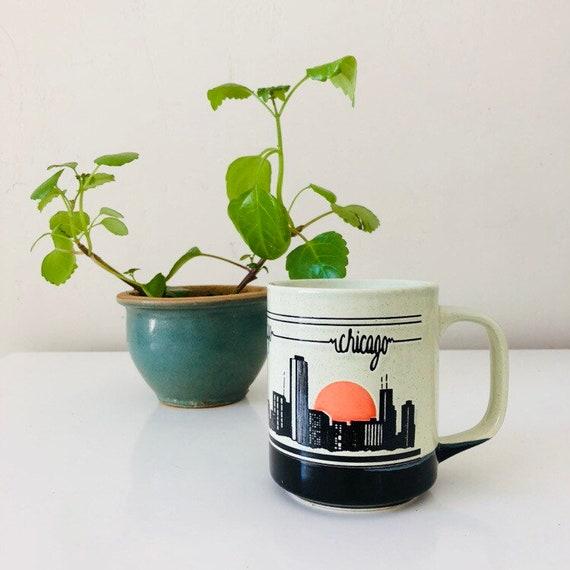 Vintage Chicago Coffee Mug 80s Ceramic Chicago City Scape Retro Souvenir Orange Sunrise Coffee Cup