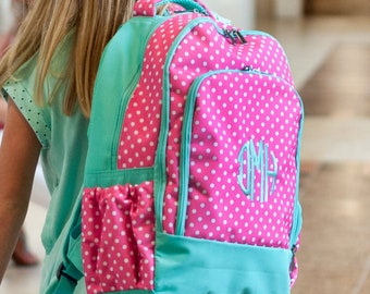Monogrammed Pink Dot Backpack ~ Monogrammed girls backpack ~ Back to school backpack
