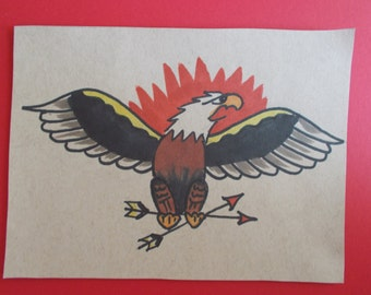 VINTAGE TATTOO EAGLE tattoo flash,tattoo eagle,sailor art,hotrod, rockabilly,americana,shop flash,nautical,sea,bird,