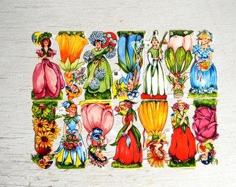 Vintage EAS German Paper Scrap Flower Fairies   West Germany Die Cut Scrap   Diecut Scrap   Paper Flower Girls   EAS 3101