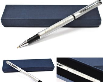 Personalised Pen, Engraved Pen - Engraved Silver Rollerball Pen, Great Graduation, Wedding Gift, Birthday Gift, Christmas Gift (MAG1 ROLLER)