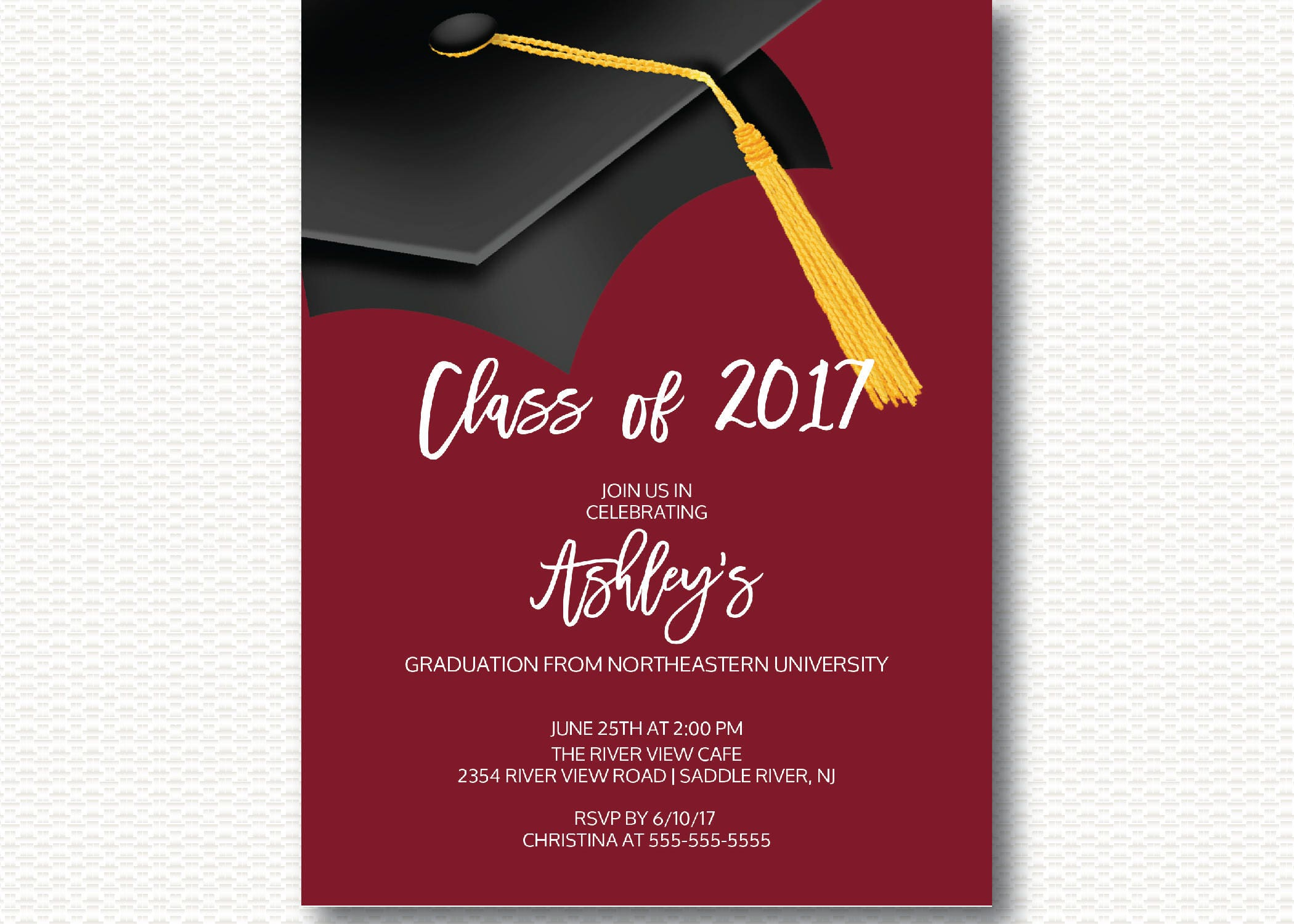 Graduation Invitation Class of 2017 Graduation Cap Hat