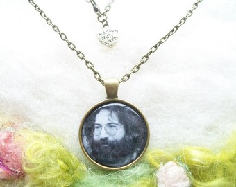 Jerry Garcia Necklace JGB Captain Trips Bronze Pendant Grateful Dead Jewelry Handmade Bronze Chain Hippie Summer of Love Rock and Roll