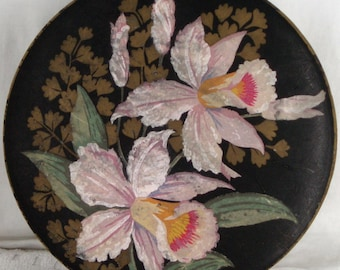 c1920/30's Large Floral Chocolate Box Black Ground . Vintage Shop Display .