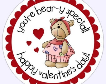 Teddy Bear Valentines Day Labels, Teddy Bear Heart Stickers - 2.5 inch round