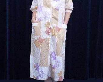 1970s dress Modex Zilina 70's 80's Vintage Summer dress Short Sleeve Floral Striped Print medium large / H