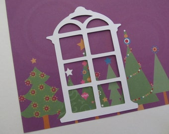 Six-Pane Window Diecuts for Christmas, Other Occasion Scrapbooking, Cardmaking, Paper Crafts, A View of Nature,People,Scenery,Paper Piecing