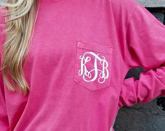 Comfort Colors Long Sleeve Monogrammed Pocket Tee Shirt (V)