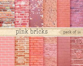 Pink brick wall digital paper: Grunge Brick texture background, Digital Photography Backdrop Paper Wallpaper