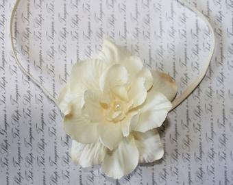 Ivory Pearl Baby Flower Headband, Newborn Headband, Baby Girl Flower Headband, Photography Prop
