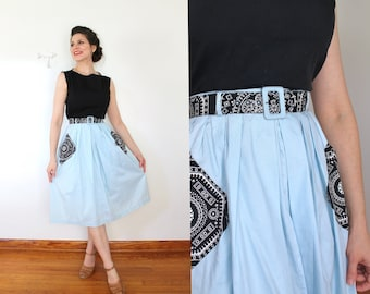 1940s Skirt / 40s 50s Skirt / 1940s 1950s Light Blue and Black Paisley Bandana Print Cotton High Waist Full Belted Skirt With Pockets