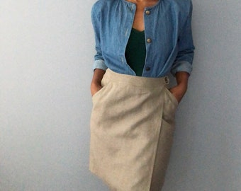 vintage linen wrao skirt with pockets