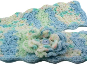 Robin's Egg Blue and Mint Green Crochet Scarflette with Flower, Buttoned Scarflette, Buttoned Neck Warmer, SC139-01