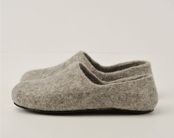 Handmade eco friendly felted slippers from natural wool - grey-rubber soles