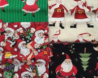 Christmas Santa Claus Fabric Variety Fat Quarter Bundle of 4