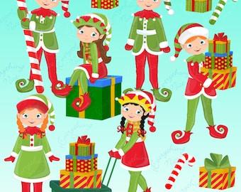 Santa's Elves, Christmas Elves Clipart Set