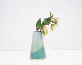 Handthrown green/grey bud vase