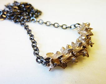 Rattlesnake Vertebrae Necklace, Nature Jewelry, Organic, Reptile, Bone, Spine, Spike, Hand Cast Bronze or Sterling Silver