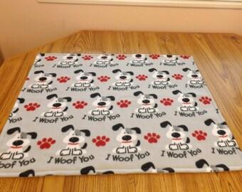 Dog Blanket, Medium, I Woof You!