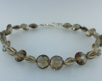 Fancy cut Smokey Quartz bracelet with Sterling silver - gift idea - round faceted beads - elegant - fine jewelry - natural gemstone