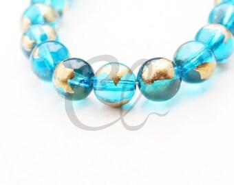 19pcs of Round Glass Beads - Transparent Capri Gold Foil 10mm