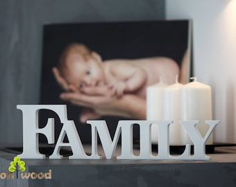 Wooden Family Sign Free standing Letters Wooden Shelf Sign Family Letters Wooden Sign Wedding Gift Family Gift New Family Gift Sign Family