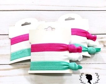 Magenta, White and Teal Hair Tie Set