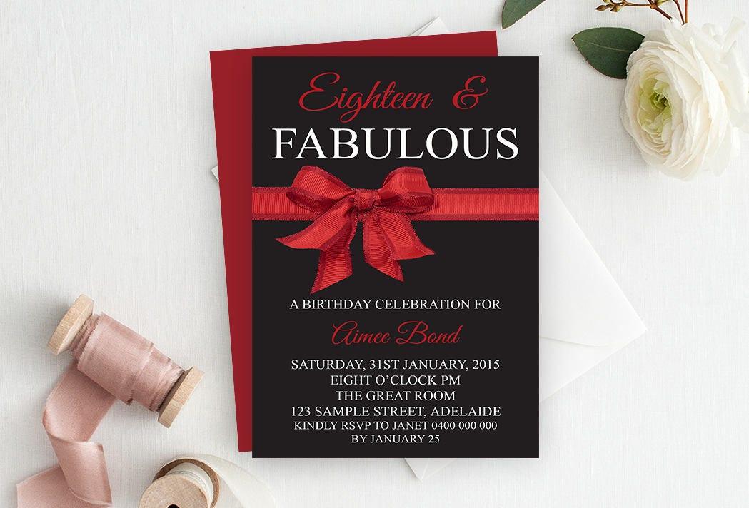 Red 18th Birthday Invitation, Birthday Invitation, Printable ...