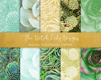 Digital Scrapbook Paper - Paint Style Succulents - 10 papers in .JPEG Files - INSTANT DOWNLOAD