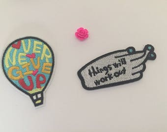 Never give up patch, Embroidered Iron On Patch, sewing patch, inspiring patch, never give up hot balloon, Things will work out