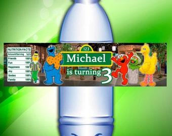 Digital file, Sesame Street water bottle labels, Sesame Street birthday party printable, printable water bottle labels
