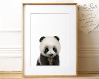 Panda print, Panda nursery art, PRINTABLE art, Nursery decor, Animal art, Baby animals, Nursery wall art, Kids art, The Crown Prints