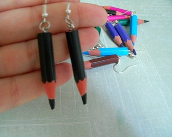 Earrings wood pens / pencils, colors to choose 24 colors