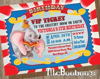 Dumbo Birthday Party VIP Circus Ticket Invitation