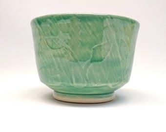 Handmade Ceramic Green Leaf Cup/Teacup/Tumbler/Yunomi