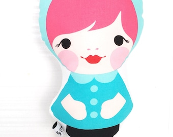 Handmade doll by Miss Tilly Buttons, babushka doll, softie doll, nursery decor, baby gift